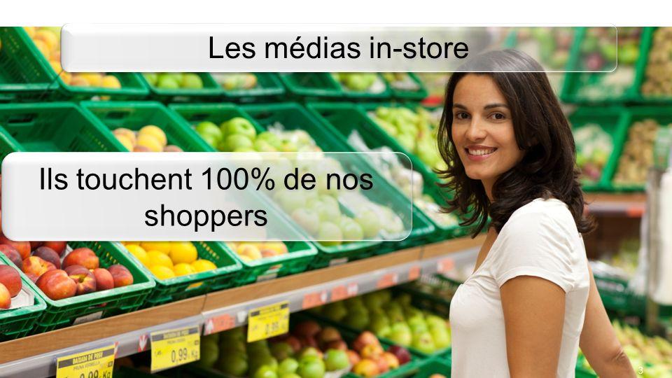 3 Les médias in-store Ils touchent 100% de nos shoppers