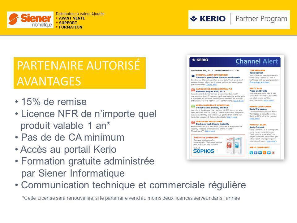 avagtavantagaes PARTENAIRE AUTORISÉ AVANTAGES 15% de remise Licence NFR de nimporte quel produit valable 1 an* Pas de de CA minimum Accès au portail K
