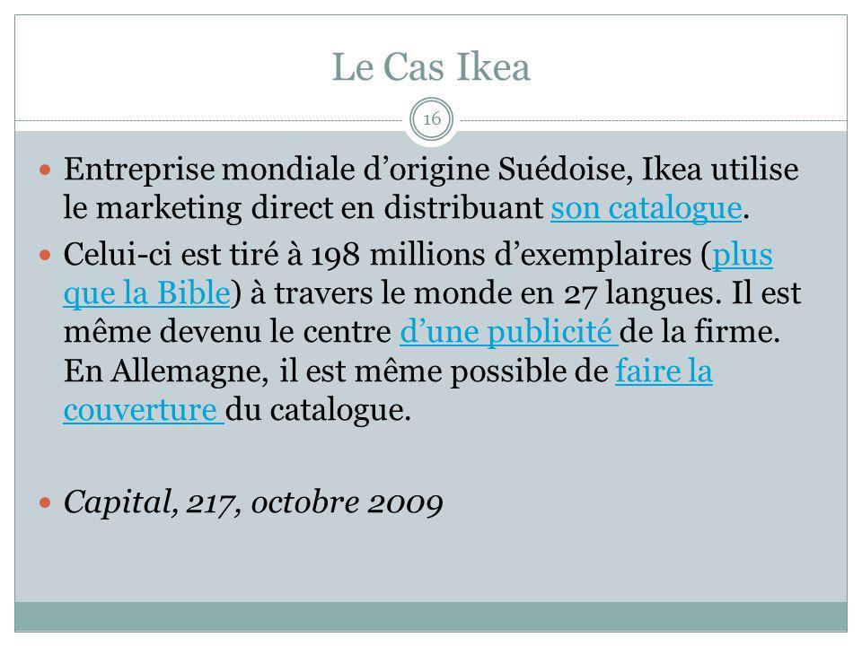Le Cas Ikea 16 Entreprise mondiale dorigine Suédoise, Ikea utilise le marketing direct en distribuant son catalogue.son catalogue Celui-ci est tiré à 198 millions dexemplaires (plus que la Bible) à travers le monde en 27 langues.