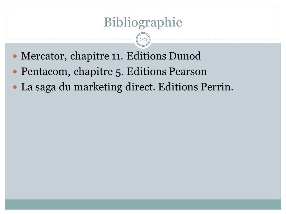 Bibliographie 20 Mercator, chapitre 11.Editions Dunod Pentacom, chapitre 5.