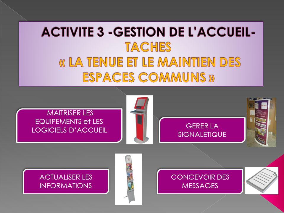 Aménagement de lespace daccueil savoirs Communication liée à laccueil Gestion la documentation à laccueil