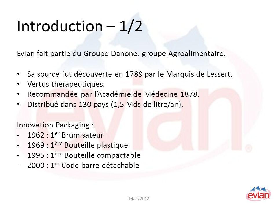 Introduction – 1/2 Evian fait partie du Groupe Danone, groupe Agroalimentaire.