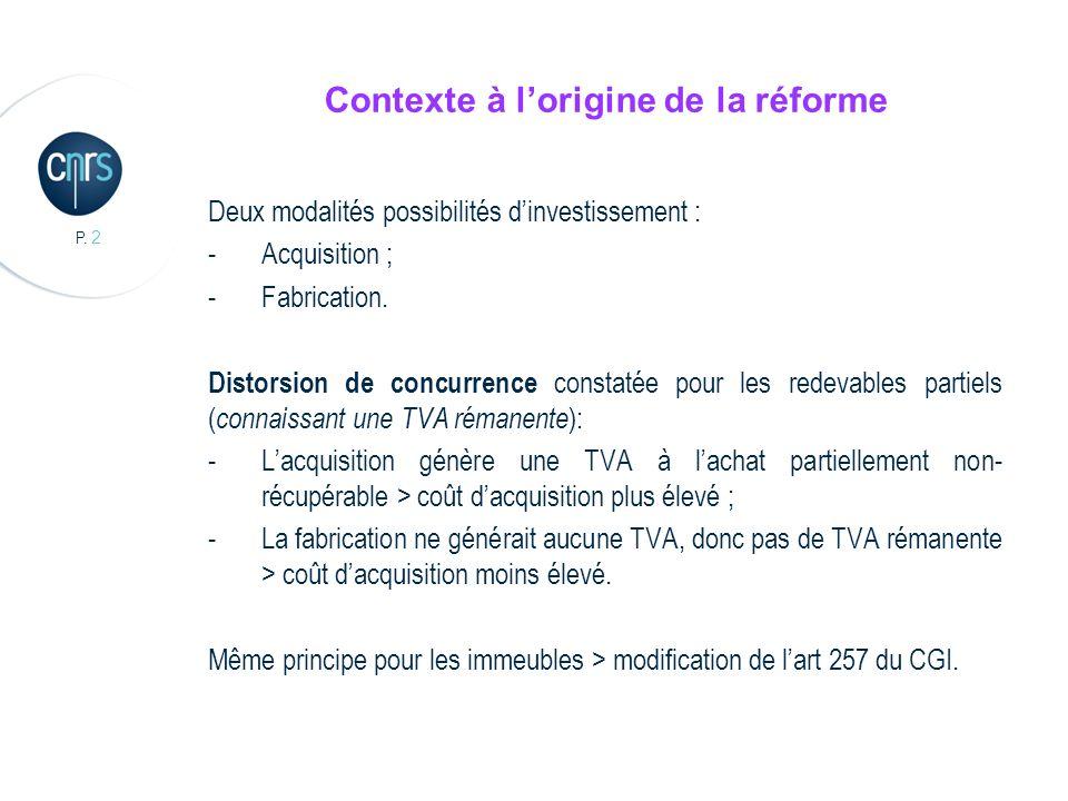P. 2 Contexte à lorigine de la réforme Deux modalités possibilités dinvestissement : -Acquisition ; -Fabrication. Distorsion de concurrence constatée