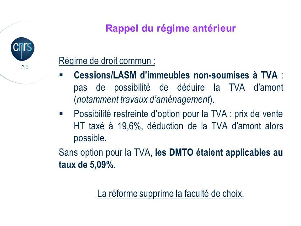 P. 3 Rappel du régime antérieur Régime de droit commun : Cessions/LASM dimmeubles non-soumises à TVA : pas de possibilité de déduire la TVA damont ( n