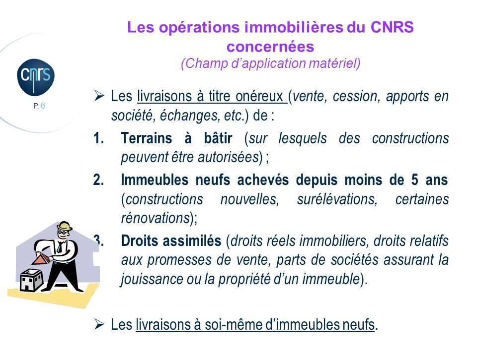 P. 6 Les opérations immobilières du CNRS concernées (Champ dapplication matériel) Les livraisons à titre onéreux ( vente, cession, apports en société,