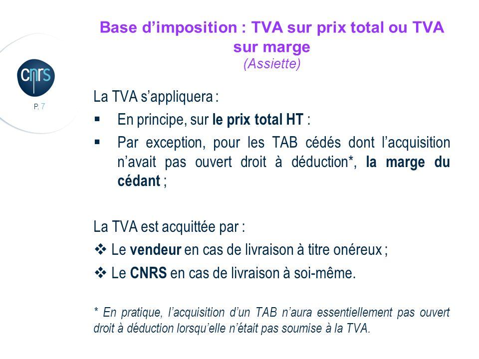 P. 7 Base dimposition : TVA sur prix total ou TVA sur marge (Assiette) La TVA sappliquera : En principe, sur le prix total HT : Par exception, pour le