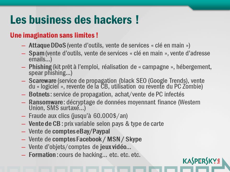 – Attaque DDoS (vente doutils, vente de services « clé en main ») – Spam (vente doutils, vente de services « clé en main », vente dadresse emails…) – Phishing (kit prêt à lemploi, réalisation de « campagne », hébergement, spear phishing…) – Scareware (service de propagation (black SEO (Google Trends), vente du « logiciel », revente de la CB, utilisation ou revente du PC Zombie) – Botnets : service de propagation, achat/vente de PC infectés – Ransomware : décryptage de données moyennant finance (Western Union, SMS surtaxé…) – Fraude aux clics (jusquà 60.000$/an) – Vente de CB : prix variable selon pays & type de carte – Vente de comptes eBay/Paypal – Vente de comptes Facebook / MSN / Skype – Vente dobjets/comptes de jeux vidéo… – Formation : cours de hacking… etc.