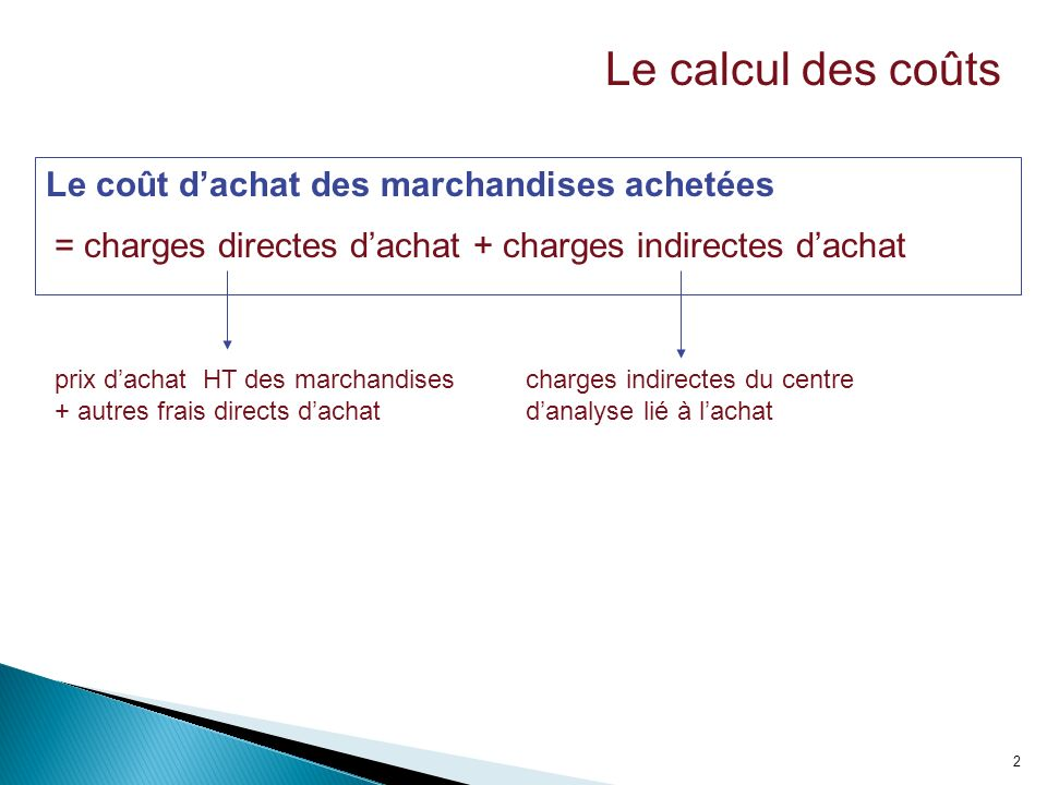 3 Fauteuil OlgaFauteuil Lydia QuantitéCoût unitaire TotalQuantitéCoût unitaire Total Charges directes (Prix d achat HT) 1270.008401475.001050 + Charges indirectes (Centre achats) 8400.0758.810500.0773.5 = COUT d ACHAT1274.9898.81480.251123.5 Le coût dachat des marchandises achetées LU.O.