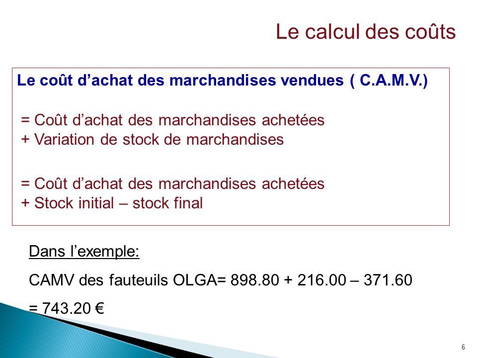 6 Le coût dachat des marchandises vendues ( C.A.M.V.) = Coût dachat des marchandises achetées + Variation de stock de marchandises = Coût dachat des m