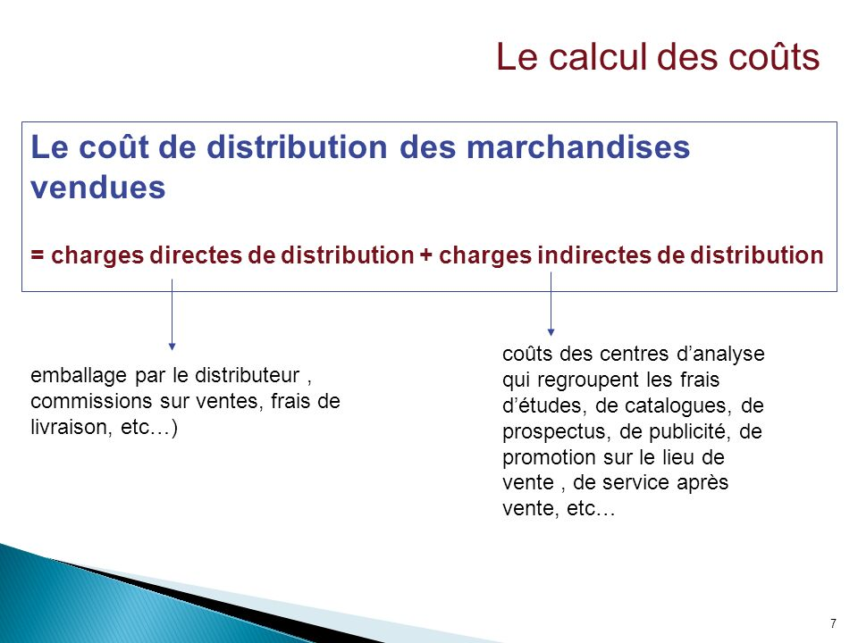 7 Le coût de distribution des marchandises vendues = charges directes de distribution + charges indirectes de distribution emballage par le distribute
