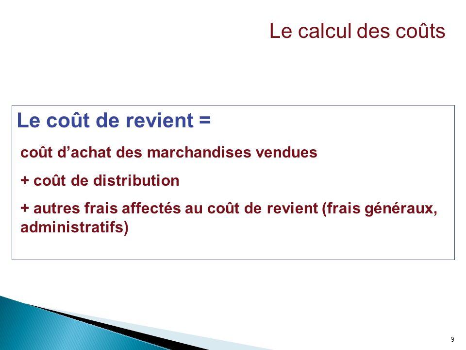 9 Le coût de revient = coût dachat des marchandises vendues + coût de distribution + autres frais affectés au coût de revient (frais généraux, adminis