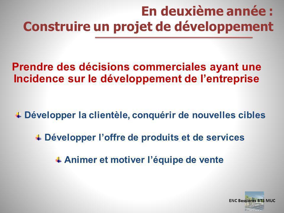 En deuxième année : Construire un projet de développement Prendre des décisions commerciales ayant une Incidence sur le développement de lentreprise D