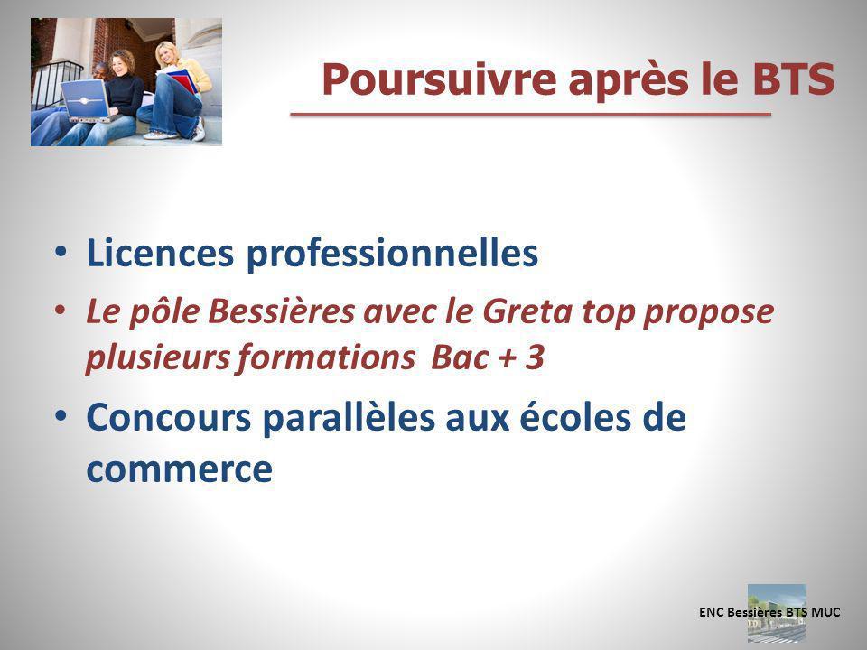 Licences professionnelles Le pôle Bessières avec le Greta top propose plusieurs formations Bac + 3 Concours parallèles aux écoles de commerce Poursuiv