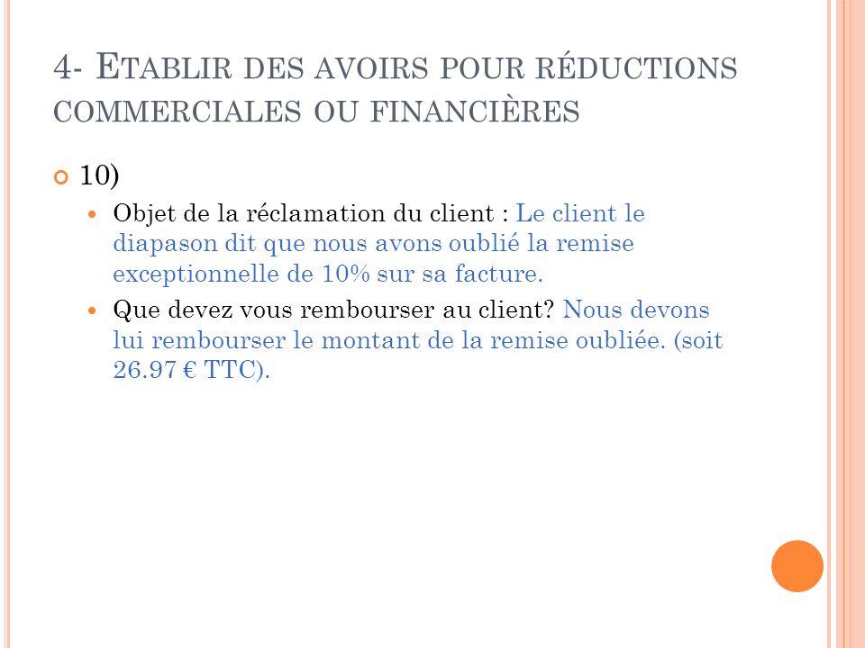 4- E TABLIR DES AVOIRS POUR RÉDUCTIONS COMMERCIALES OU FINANCIÈRES 10) Objet de la réclamation du client : Le client le diapason dit que nous avons ou