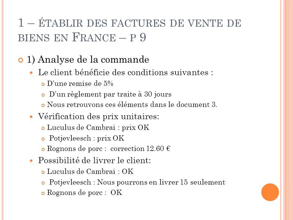 E XERCICE P 15 1) BL + Facture