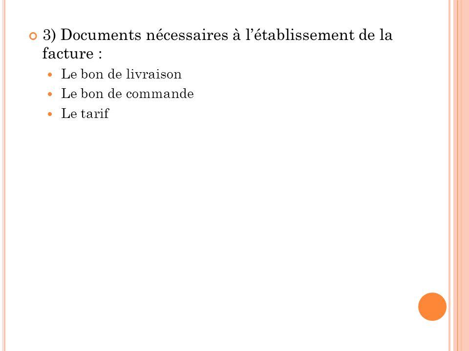 3) Documents nécessaires à létablissement de la facture : Le bon de livraison Le bon de commande Le tarif