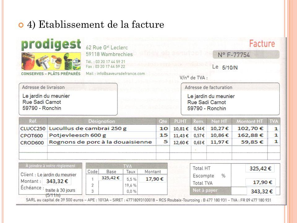 4) Etablissement de la facture
