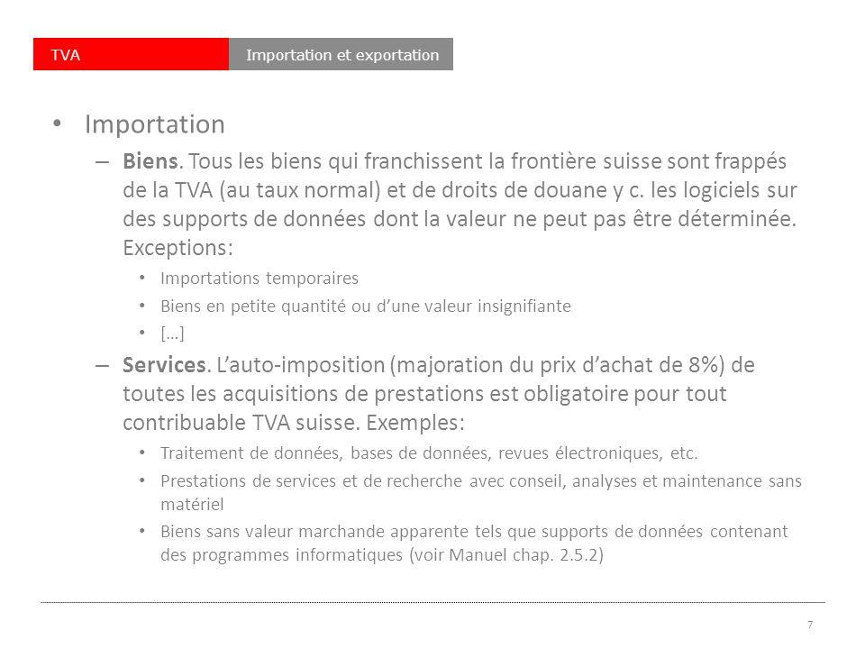TVAImportation et exportation Importation – Biens.