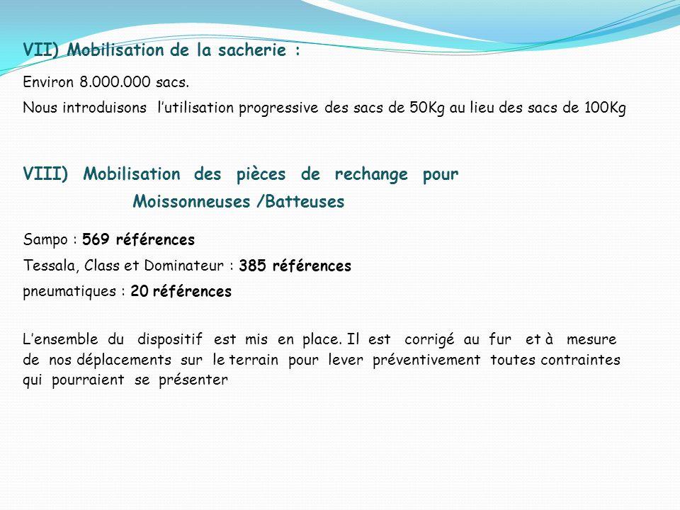 VII) Mobilisation de la sacherie : Environ 8.000.000 sacs. Nous introduisons lutilisation progressive des sacs de 50Kg au lieu des sacs de 100Kg VIII)