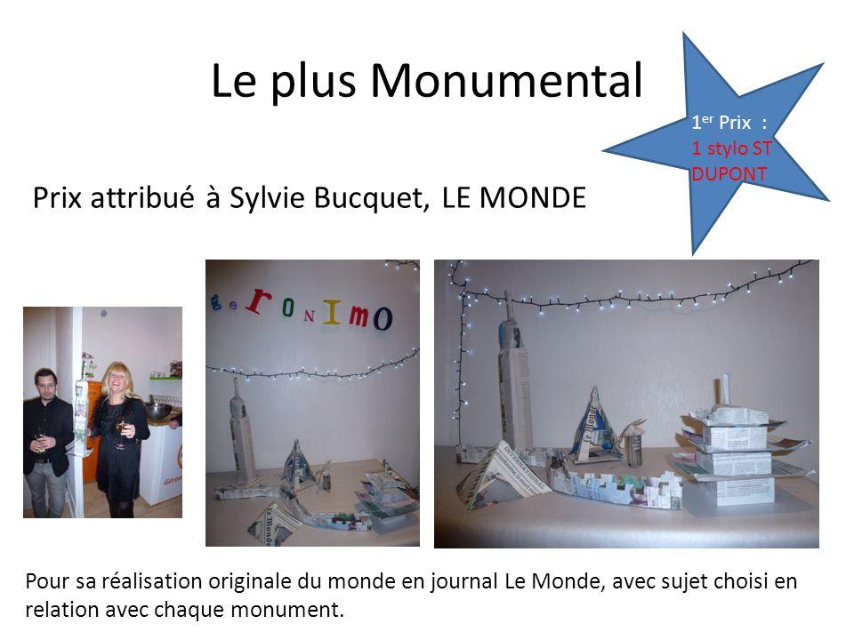 Le plus Monumental Prix attribué à Sylvie Bucquet, LE MONDE 1 er Prix : 1 stylo ST DUPONT Pour sa réalisation originale du monde en journal Le Monde, avec sujet choisi en relation avec chaque monument.