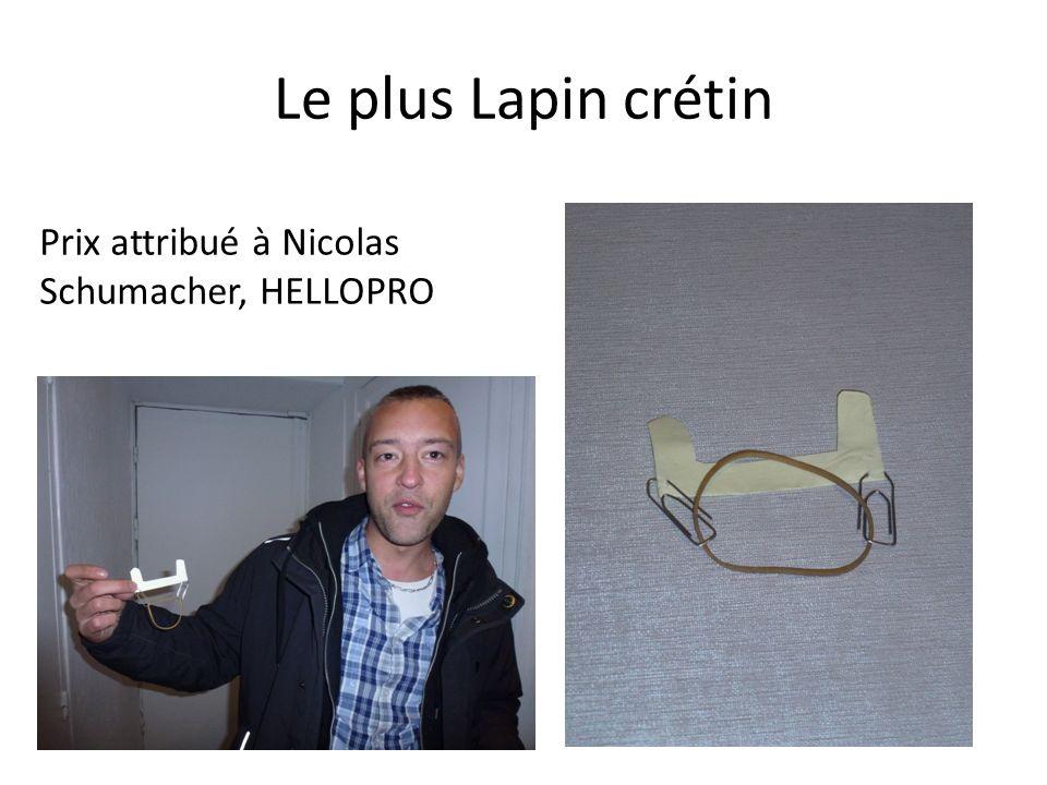 Le plus Lapin crétin Prix attribué à Nicolas Schumacher, HELLOPRO