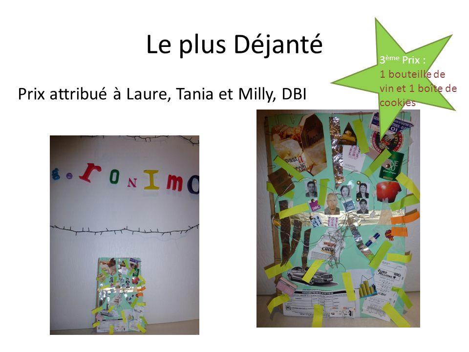 Le plus Déjanté Prix attribué à Laure, Tania et Milly, DBI 3 ème Prix : 1 bouteille de vin et 1 boîte de cookies