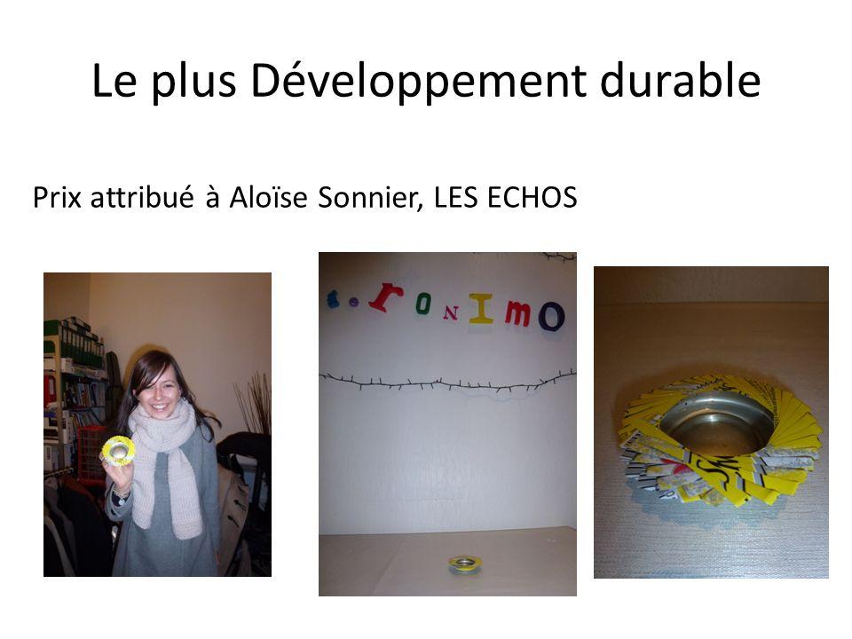 Le plus Développement durable Prix attribué à Aloïse Sonnier, LES ECHOS