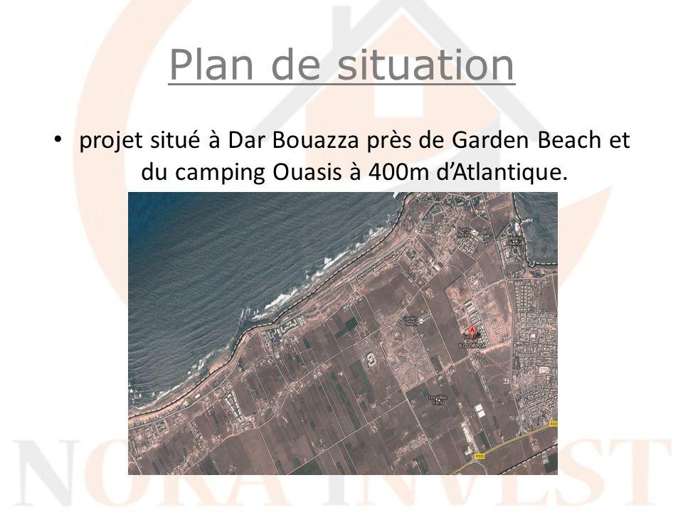 projet situé à Dar Bouazza près de Garden Beach et du camping Ouasis à 400m dAtlantique. Plan de situation