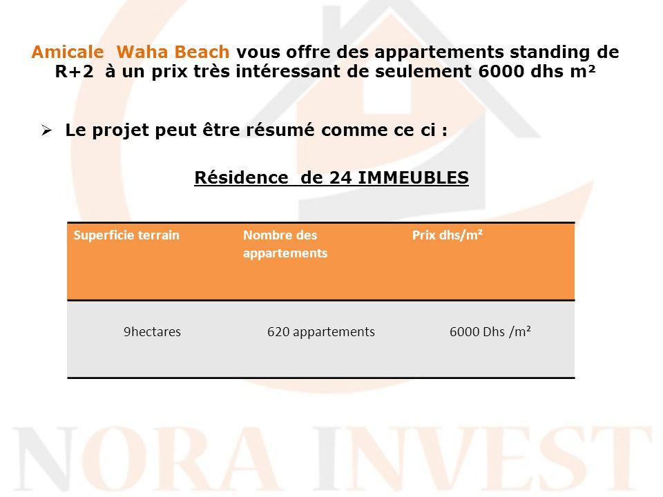 Amicale Waha Beach vous offre des appartements standing de R+2 à un prix très intéressant de seulement 6000 dhs m² Le projet peut être résumé comme ce