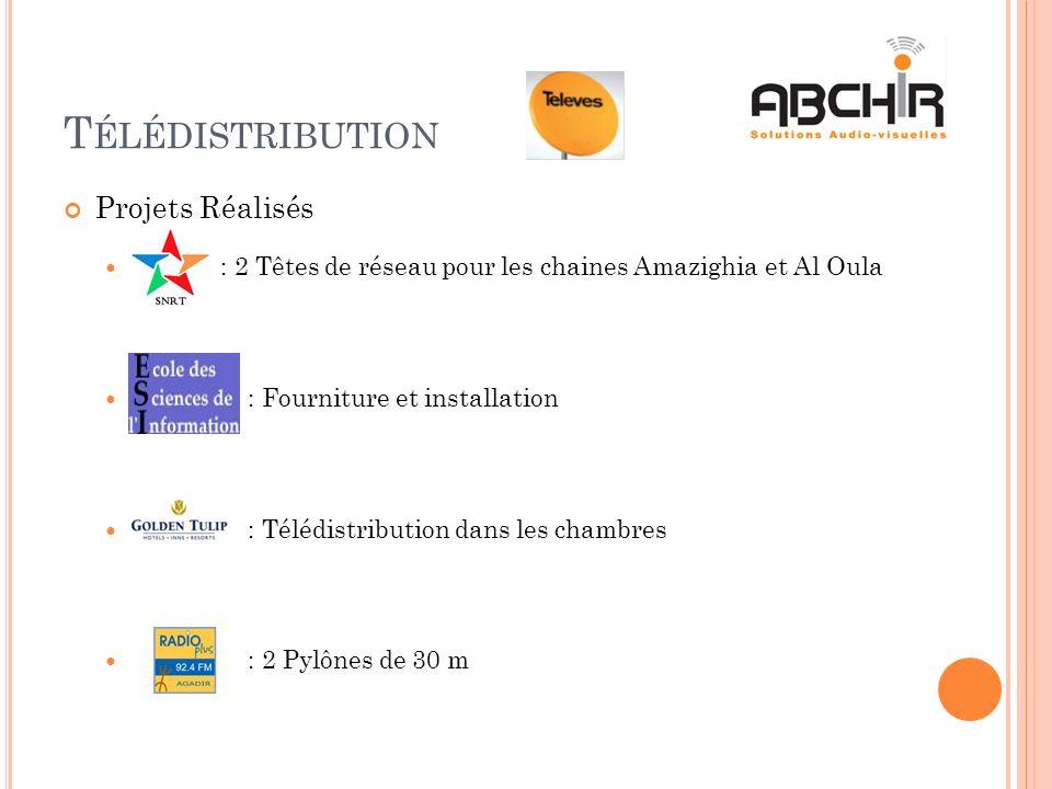 T ÉLÉDISTRIBUTION Projets Réalisés : 2 Têtes de réseau pour les chaines Amazighia et Al Oula : Fourniture et installation : Télédistribution dans les chambres : 2 Pylônes de 30 m