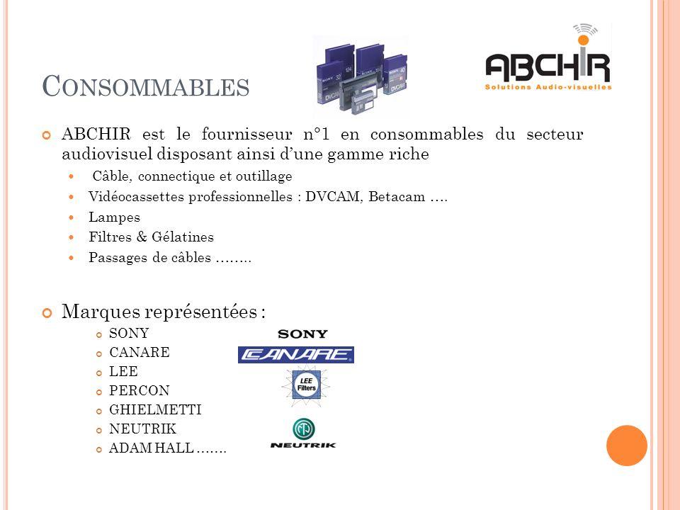 C ONSOMMABLES ABCHIR est le fournisseur n°1 en consommables du secteur audiovisuel disposant ainsi dune gamme riche Câble, connectique et outillage Vi