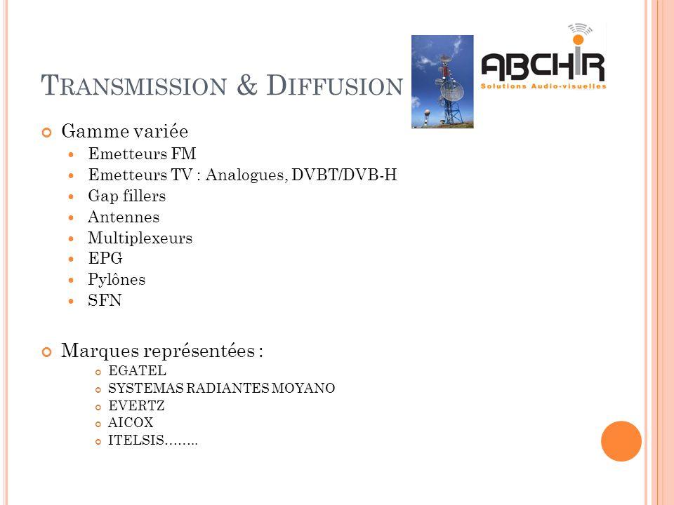 T RANSMISSION & D IFFUSION Gamme variée Emetteurs FM Emetteurs TV : Analogues, DVBT/DVB-H Gap fillers Antennes Multiplexeurs EPG Pylônes SFN Marques r