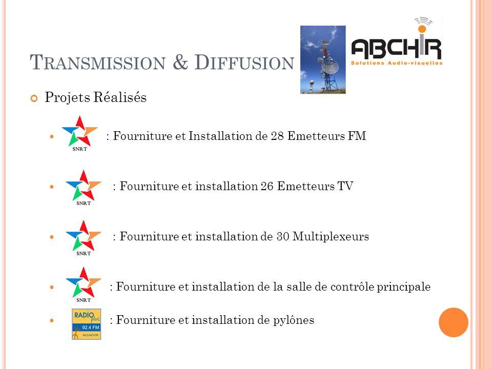 T RANSMISSION & D IFFUSION Projets Réalisés : Fourniture et Installation de 28 Emetteurs FM : Fourniture et installation 26 Emetteurs TV : Fourniture