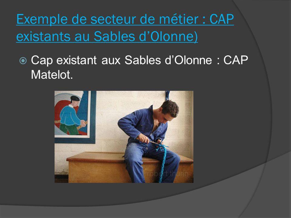 Exemple de secteur de métier : CAP existants au Sables dOlonne) Cap existant aux Sables dOlonne : CAP Matelot.
