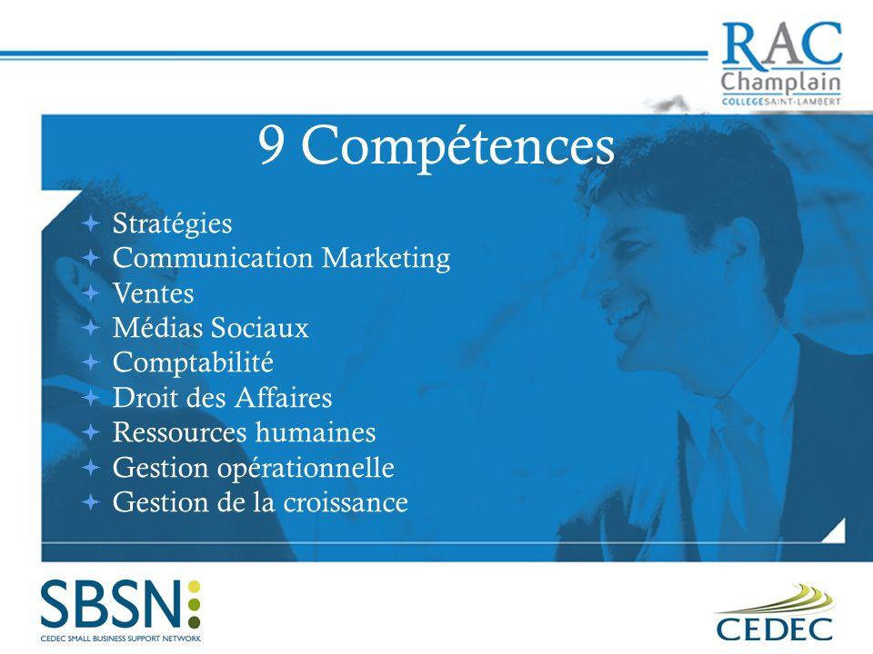 9 Compétences Stratégies Communication Marketing Ventes Médias Sociaux Comptabilité Droit des Affaires Ressources humaines Gestion opérationnelle Gestion de la croissance