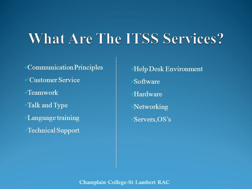 Communication Principles Customer Service Teamwork Talk and Type Language training Technical Support Champlain College-St Lambert RAC Help Desk Environment Software Hardware Networking Servers,OSs