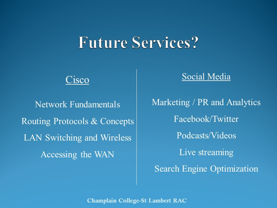 Cisco Network Fundamentals Routing Protocols & Concepts LAN Switching and Wireless Accessing the WAN Champlain College-St Lambert RAC Social Media Mar
