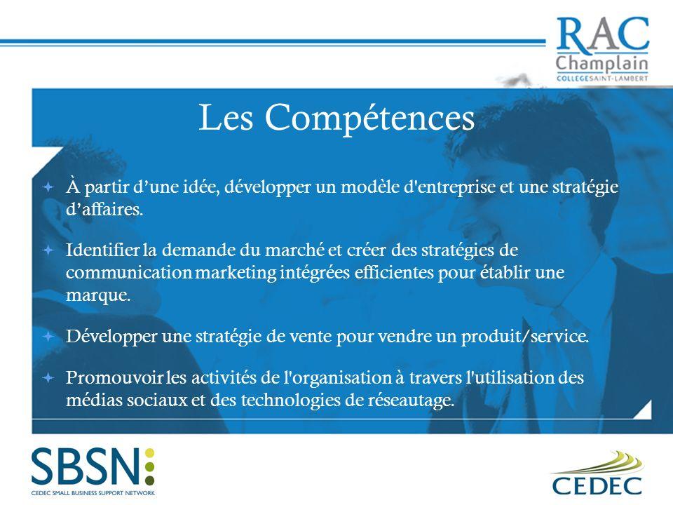 Les Compétences À partir dune idée, développer un modèle d'entreprise et une stratégie daffaires. Identifier la demande du marché et créer des stratég