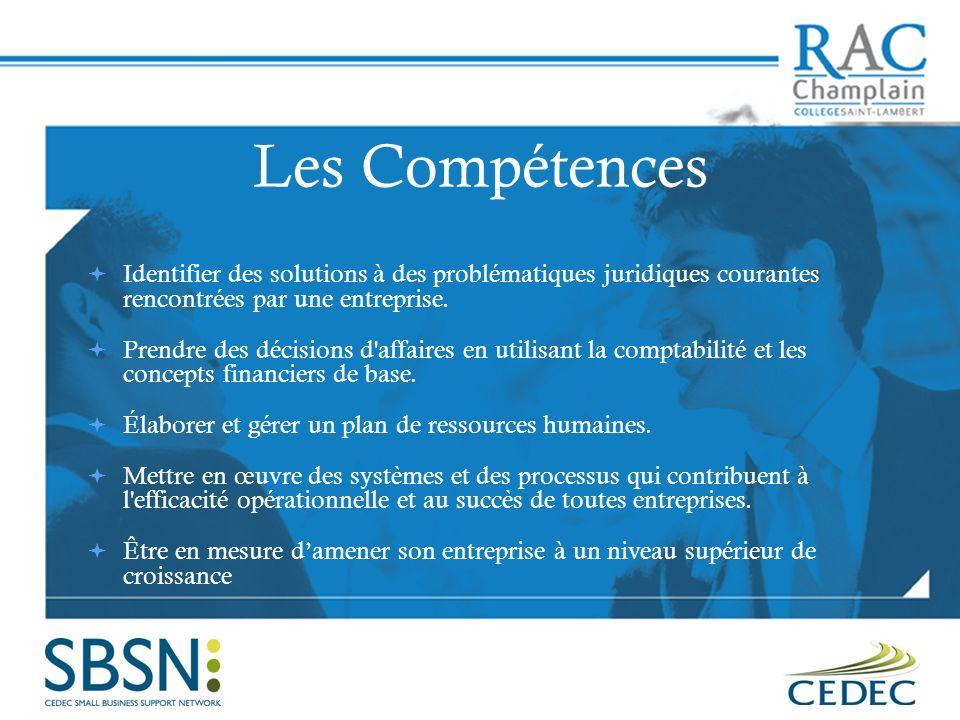 Les Compétences Identifier des solutions à des problématiques juridiques courantes rencontrées par une entreprise. Prendre des décisions d'affaires en