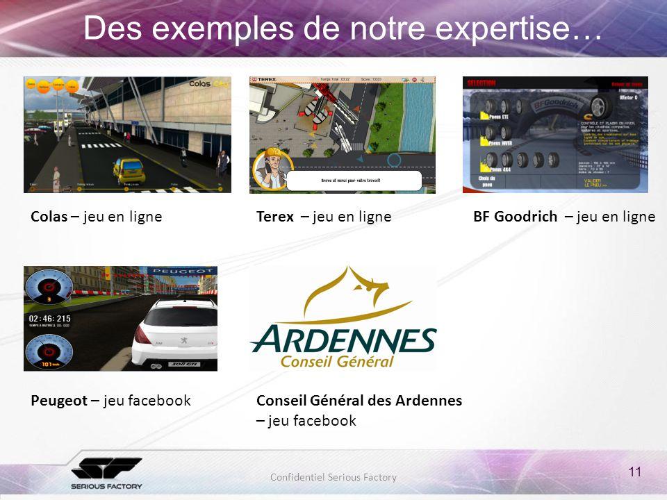 11 Confidentiel Serious Factory Des exemples de notre expertise… Colas – jeu en ligne Conseil Général des Ardennes – jeu facebook Peugeot – jeu facebo