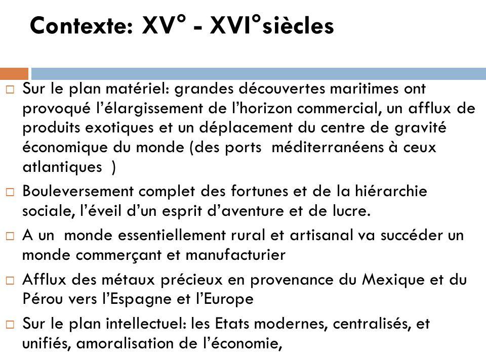 Contexte: XV° - XVI°siècles Sur le plan matériel: grandes découvertes maritimes ont provoqué lélargissement de lhorizon commercial, un afflux de produ