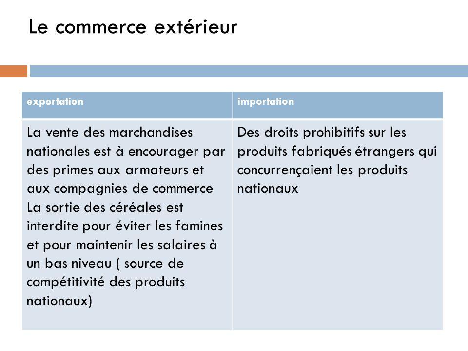 Le commerce extérieur exportationimportation La vente des marchandises nationales est à encourager par des primes aux armateurs et aux compagnies de c