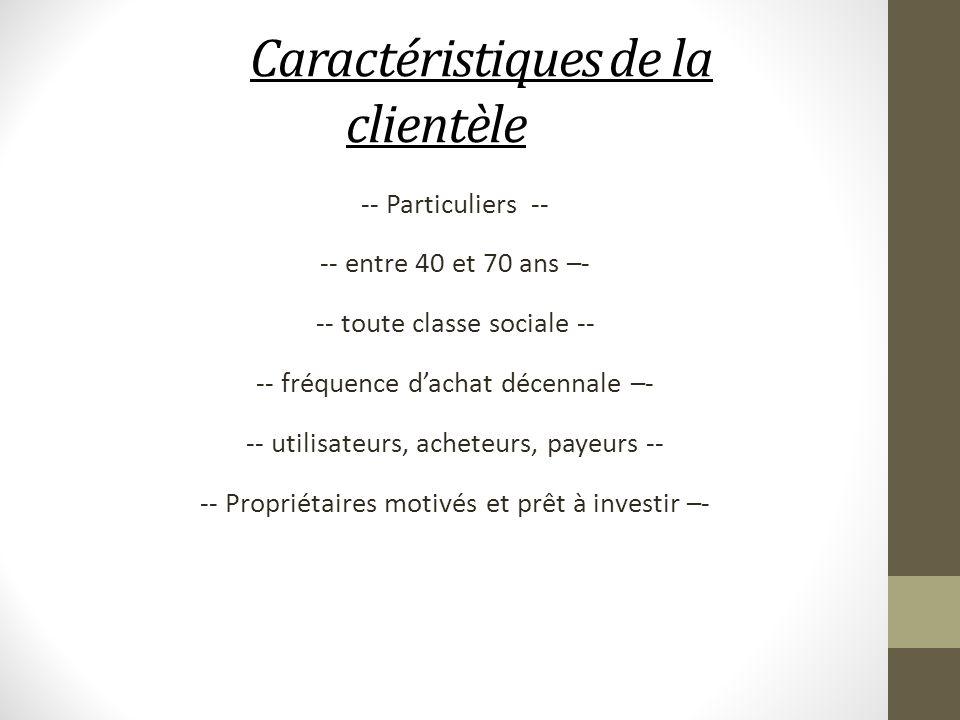 Caractéristiques de la clientèle -- Particuliers -- -- entre 40 et 70 ans –- -- toute classe sociale -- -- fréquence dachat décennale –- -- utilisateu