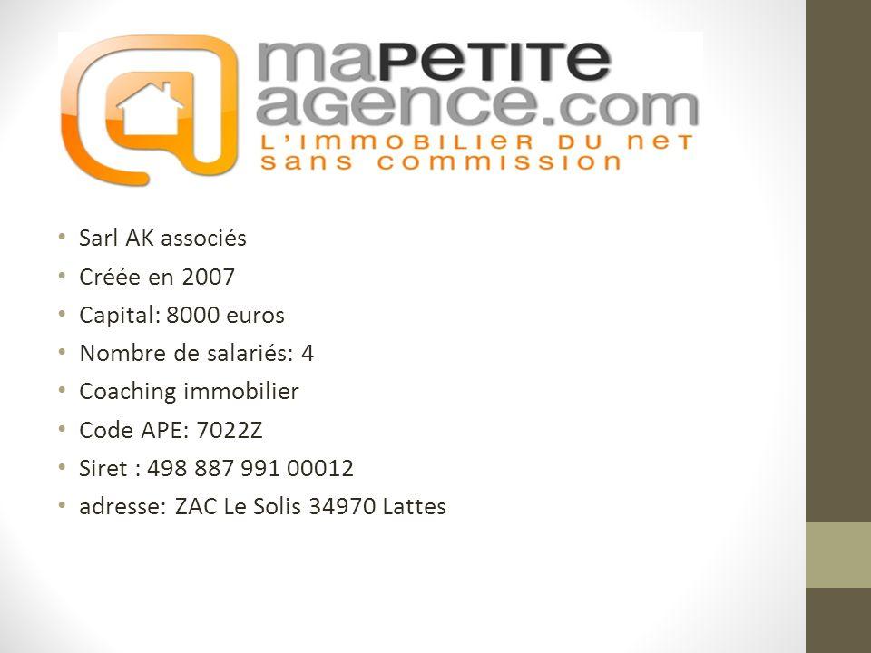 Sarl AK associés Créée en 2007 Capital: 8000 euros Nombre de salariés: 4 Coaching immobilier Code APE: 7022Z Siret : 498 887 991 00012 adresse: ZAC Le