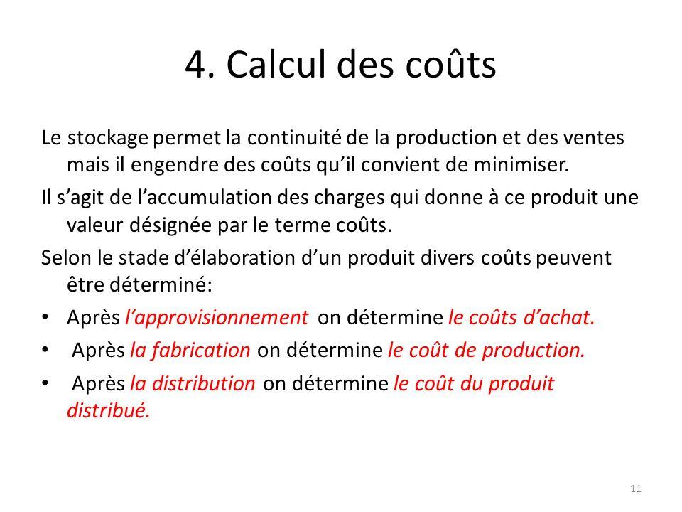 4. Calcul des coûts Le stockage permet la continuité de la production et des ventes mais il engendre des coûts quil convient de minimiser. Il sagit de