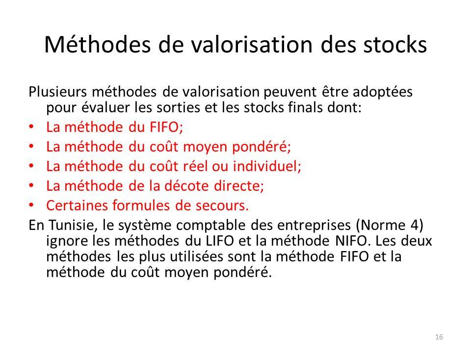 Méthodes de valorisation des stocks Plusieurs méthodes de valorisation peuvent être adoptées pour évaluer les sorties et les stocks finals dont: La mé