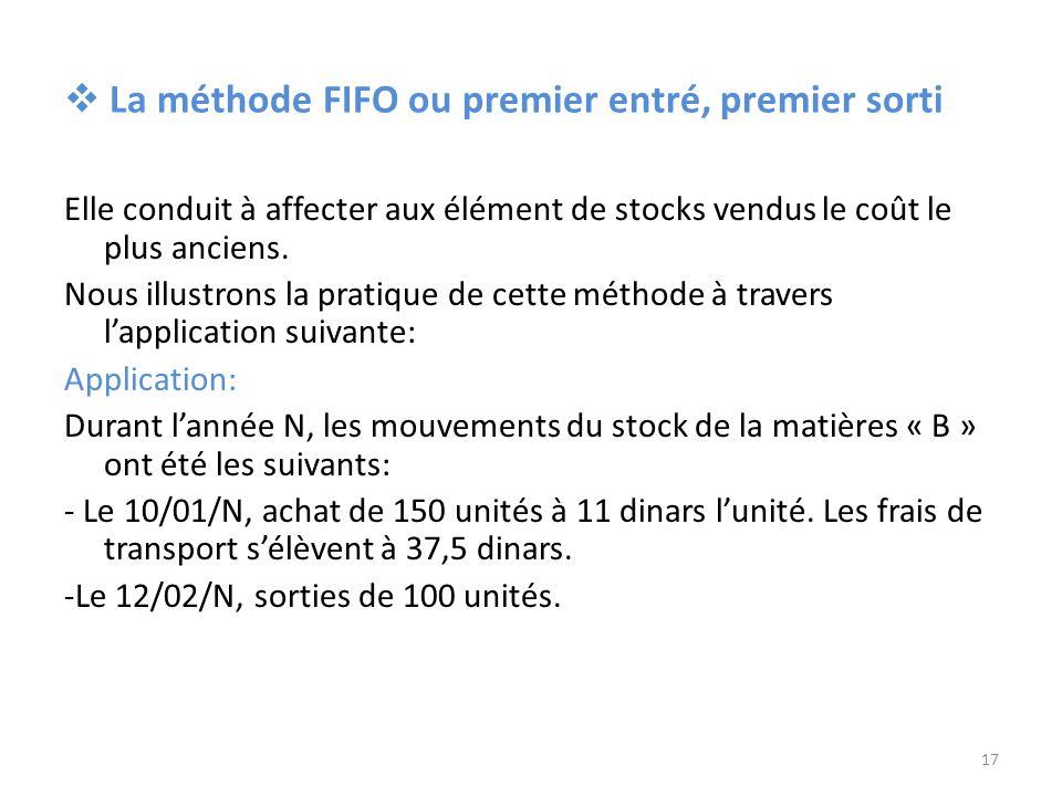 La méthode FIFO ou premier entré, premier sorti Elle conduit à affecter aux élément de stocks vendus le coût le plus anciens. Nous illustrons la prati