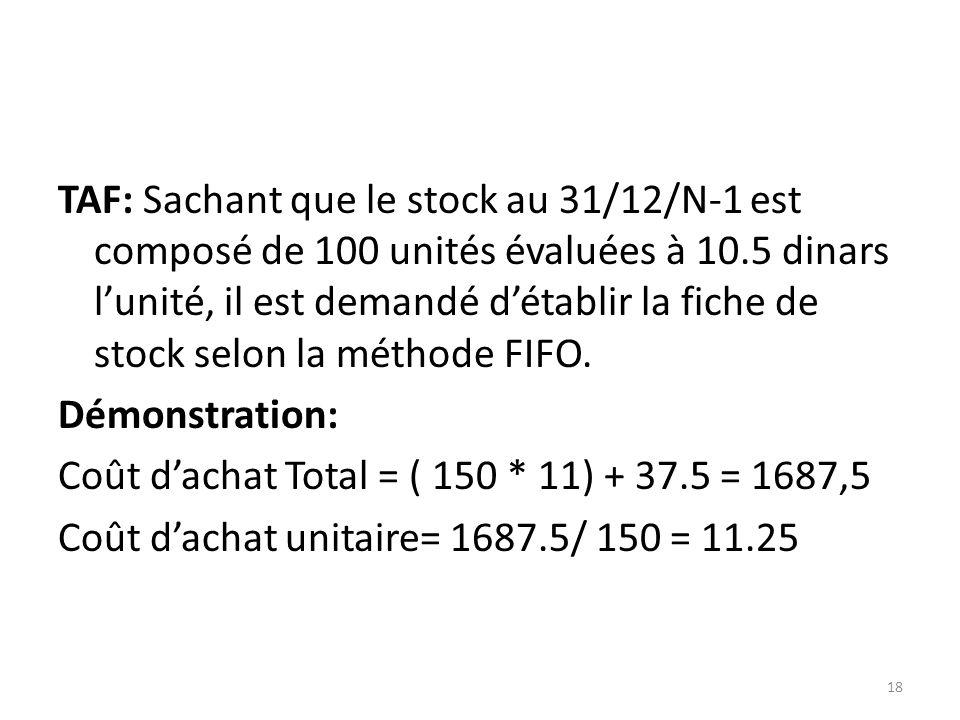 TAF: Sachant que le stock au 31/12/N-1 est composé de 100 unités évaluées à 10.5 dinars lunité, il est demandé détablir la fiche de stock selon la mét
