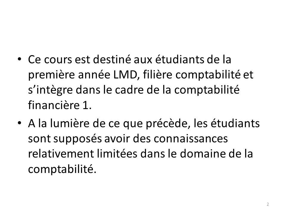 Ce cours est destiné aux étudiants de la première année LMD, filière comptabilité et sintègre dans le cadre de la comptabilité financière 1. A la lumi