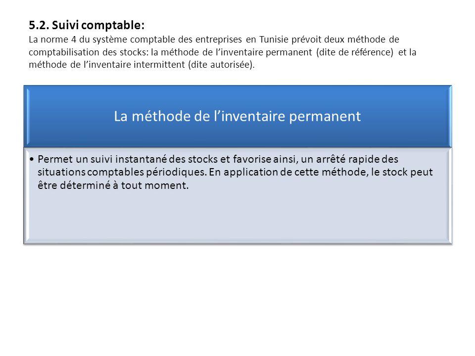 5.2. Suivi comptable: La norme 4 du système comptable des entreprises en Tunisie prévoit deux méthode de comptabilisation des stocks: la méthode de li